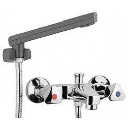 Paffoni Etoile Mélangeur bain/douche avec inverseur à bouton poussoir, douchette Trieste Bis et fl exible 1500 mm avec support