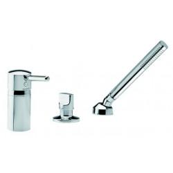 Damixa Salle de bain batterie 3-trous pour bain/douche a combiner écoulement externe chromé