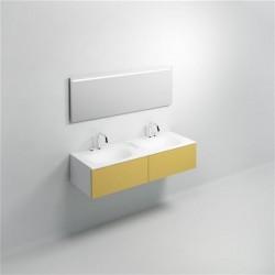 clou Hammock, plan avec 2 vasques intégrées, lavabos de 58 cm, pour Hammock composition 08, aluite. Avec 3 points d'amor