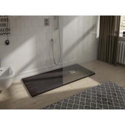 Receveur de douche minérale finition naturelle SOLID-HALLIOS de 80 X 100
