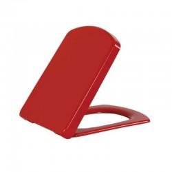 Banio design lunette rouge  soft close charnière en inox Duroplast
