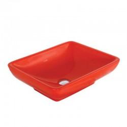 Banio wastafel rechthoek zonder kraangat , rood  50x40cm