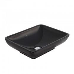 Banio wastafel rechthoek zonder kraangat, zwart 50x40cm