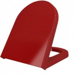 Banio design lunette  rouge  softclose charnière en inox Duroplast