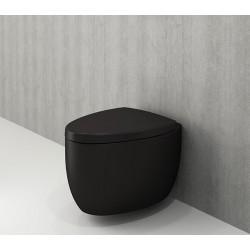 Banio Bocchi Etna ophang wc mat zwart, met sproeier