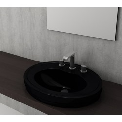 Banio Bocchi Loreto wastafel 48x60cm met 1 kraangat zwart