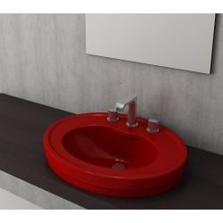 Banio Bocchi Loreto wastafel 48x60cm met 1 kraangat rood