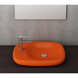 Banio Bocchi Fenice wastafel 45x54cm Z.kraangat oranje
