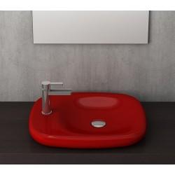 Banio Bocchi Fenice wastafel 45x54cm Z.kraangat rood