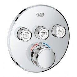 Grohe SmartControl thermostat encastré, 3 sorties, rond