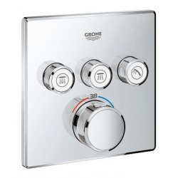 Grohe SmartControl thermostat encastré, 3 sorties, carré