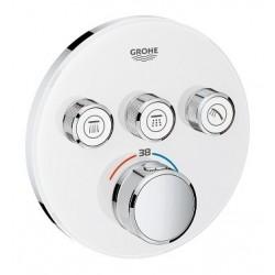 Grohe SmartControl thermostat encastré,  sorties, rond, verre Moon White