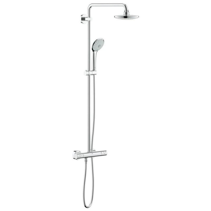 Grohe Euphoria système de douche, ø180mm, avec mitigeur thermostatique, montage mural, chromé