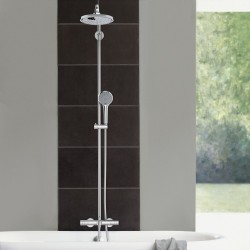 grohe euphoria syst me de douche 180mm avec mitigeur thermostatique montage mural chrom. Black Bedroom Furniture Sets. Home Design Ideas