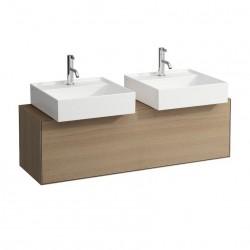 LAUFEN Boutique Meuble sous lavabo, avec un tiroir, avec découpe à gauche et à droite, avec siphon compact 120x380 bois