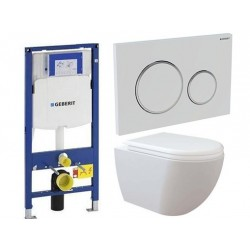 Pack Geberit avec Creavit rimless RIM OFF cuvette suspendue blanche attache invisible avec lunette soft-close