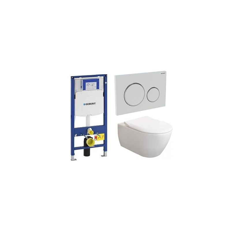 Pack Geberit avec Villeroy & Boch Subway 2.0 Combipack Blanc avec lunette slimseat