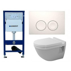 Pack Geberit Duofist Delta avec DURAVIT PACK WC suspendu STARCK 3 abattant soft close