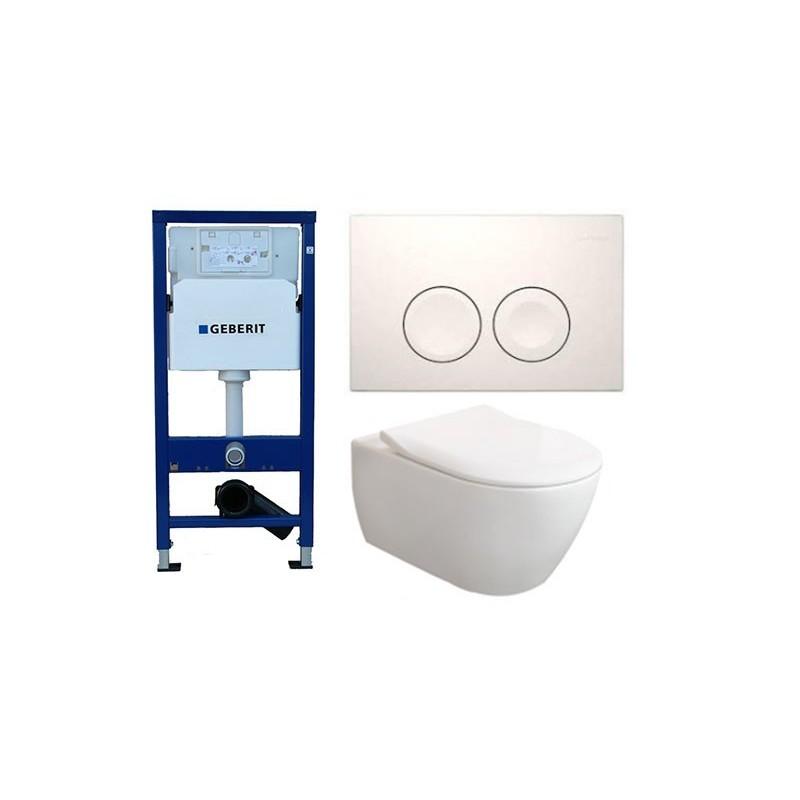 Pack Geberit Duofix Delta avec Villeroy & Boch Subway 2.0 Combipack Blanc avec lunette slimseat