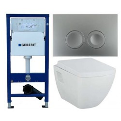 Pack Geberit Duofix Delta chroom met Creavit design ophang wc met wc-zitting soft-close