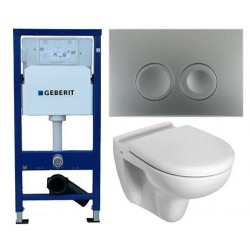 Pack Geberit Duofix Delta Chromé avec Toilette suspendue ideal standard blanc avec abattant compris