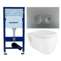 Pack Geberit Duofix Delta chroom met Creavit design ophang wc lang met wc zitting soft-close