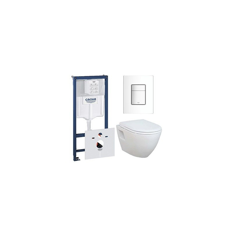 pack grohe rapid sl avec banio design cuvette compact suspendue blanche avec lunette softclose. Black Bedroom Furniture Sets. Home Design Ideas