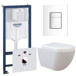 Pack Grohe Rapid SL avec Creavit rimless RIM OFF cuvette suspendue blanche attache invisible avec lunette soft-close