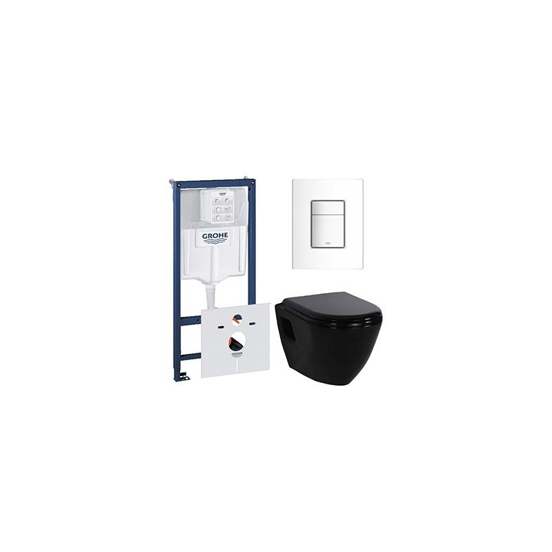 pack grohe rapid sl avec banio design cuvette suspendue noir avec lunettes soft close. Black Bedroom Furniture Sets. Home Design Ideas