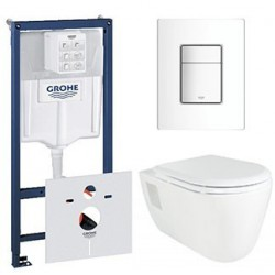 Pack Grohe Rapid SL met Creavit Creavit design ophang wc lang met wc zitting soft-close