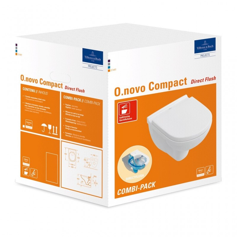 Villeroy & boch combipack wc suspendu O.novo compacte directfluch avec abattant softcosing