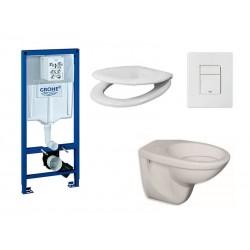 Pack wc suspendu Grohe avec touche blanche et abattant soft close (Amortisseur)