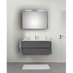 Pelipal Valencia Keramische wastafel met onderkast + spiegelkast incl. LED - Oxid donkergrijs