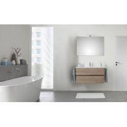 Pelipal Valencia Lavabo en céramique avec meuble (2 tiroirs) + Miroir avec LED - Chêne San Remo