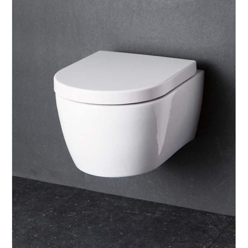 Wc suspendue banio design ray blanc compact 49x37x35 cm for Prix cuvette wc suspendu