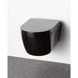 Wc suspendu porcelaine Banio Design-Ray Noir Compact 49x37x35 cm