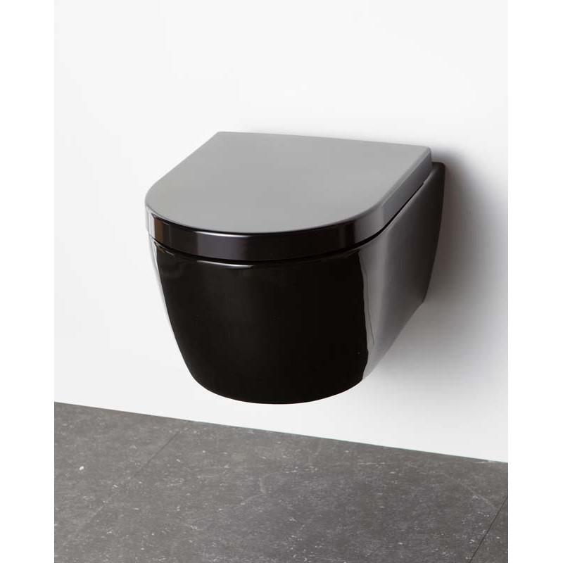 Wc Suspendu Porcelaine Banio Design Ray Noir Compact 49x37x35 Cm