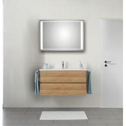 Pelipal Valencia Keramische wastafel met onderkast (2 laden) + Spiegel met LED-verlichting - Riviera eiken