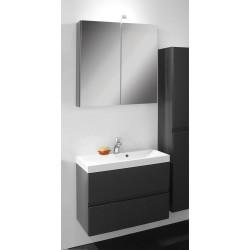 Banio Roxanne. Set 60cm anthracite avec sous-meuble/tablette/armoire de toilette/éclairage