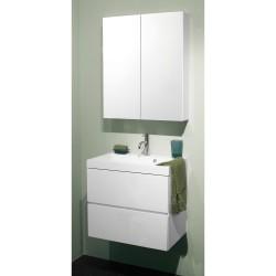 Banio Roxanne set 60cm complet Blanc avec sous-meuble/tablette/armoire de toilette/éclairage
