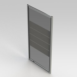 Banio-Avos draaideur met verchroomde aluminium profielen en 4mm helder glas met 4 matte stroken. Afmetingen 900x1850mm