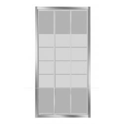 Banio-Avis - porte coulissante 3 parties - 4mm verre transparent avec 4 bandes mat - profils alu chromés - réglable