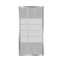 BANIO-Avis porte coulissante de 3 parties avec profils alu chromés et 4mm verre transparent, lignes blanches - Mesures 100x185cm