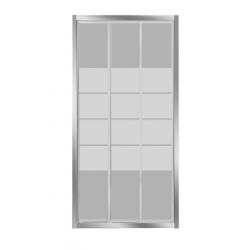 Banio-Avis porte coulissante de 3 parties avec profils alu chromés et 4mm verre transparent, lignes blanches - Mesures 120x185cm