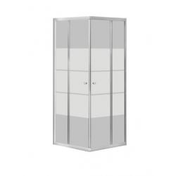 Banio-Avit accès d'angle avec portes coulissantes, profils alu chromés et 4mm verre trans., lignes blanches. Mes: 80x80x185cm