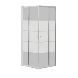 Banio-Avit accès d'angle avec portes coulissantes, profils alu chromés et 4mm verre trans., lignes blanches. Mes: 90x90x185cm