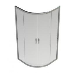 Banio-Belo quart de rond accès d'angle avec portes coulissantes, profils alu chromés, 6mm verre easy clean - Mes: 80x80x190cm
