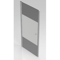 Banio-Hover Draaideur met gepolijst chrome profielen, 6mm easy clean decor glas en deur liftsysteem. Afm: 90x195cm