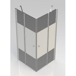 Banio-Hover Accès d'angle avec portes pivotantes, profils chromés polis, verre 6mm easy clean decor - 90x90x195cm