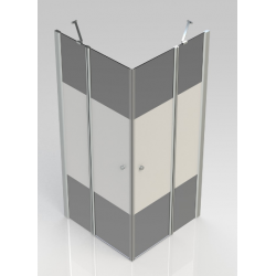 Banio-Hover Hoekinstap met draaideuren, gepolijst chrome profielen, 6mm easy clean decor glas - 90x90x195cm